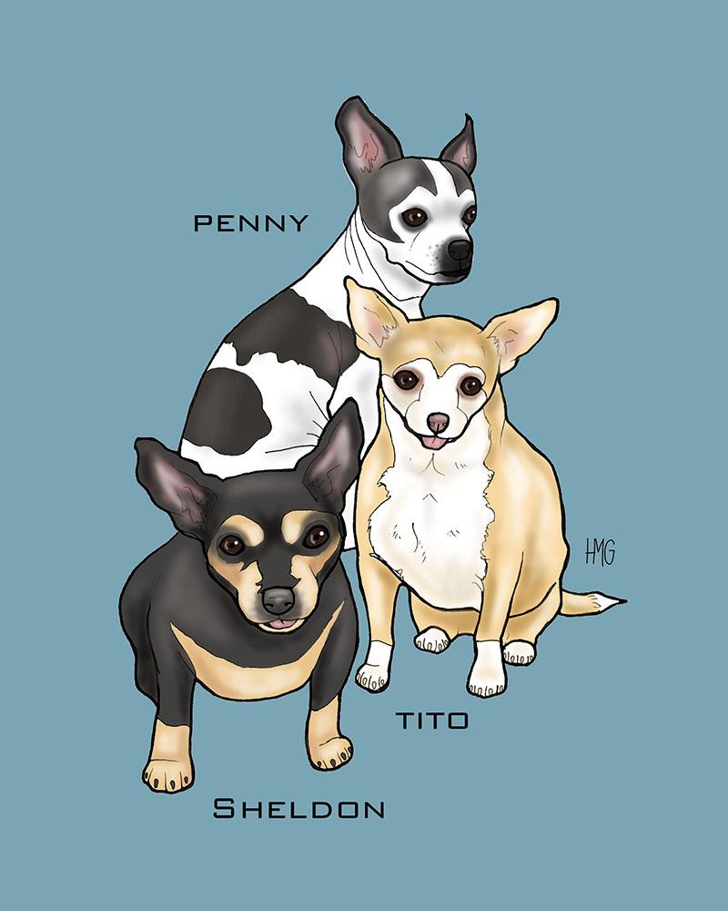 """Penny, Sheldon and Tito"" custom portrait"