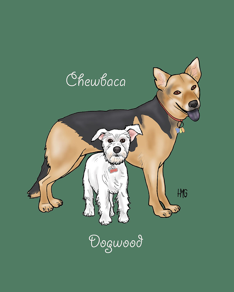 """Chewy and Dogwood"" custom portrait"